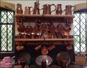 photo of copper collection in Dunham Massey's kitchen