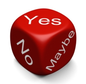 "red die with ""yes,"" ""no,"" and ""maybe"" on three of its sides"