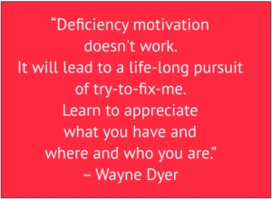 "red box with white text: ""Deficiency motivation doesn't work. It will lead to a life-long pursuit of try to fix me. Learn to appreciate what you have and where and who you are."" – Wayne Dyer"