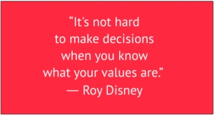 "red box with white text: ""It's not hard to make decisions when you know what your values are.""  ― Roy Disney"