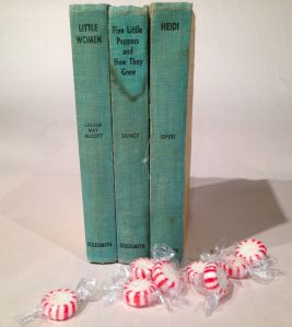 photo of three much-loved children's books and some stale Christmas peppermints