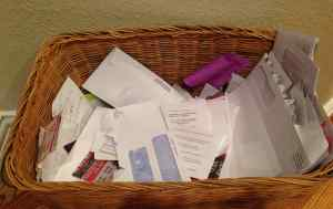 photo of basket filled with paper to be recycled