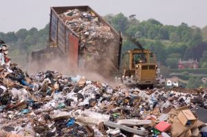 photo of dump truck at landfill