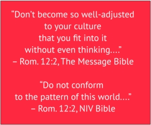 red box with white text from Romans 12:2: