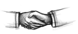 black and white sketch of shaking hands