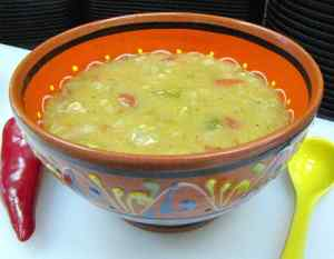 photo of Mexican pottery bowl of green chili