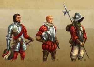artwork of three version of a Spanish conquistador