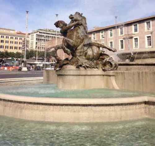 Rome Piazza della Repubblica, Fountain of the Naiads, Nymph of the Oceans